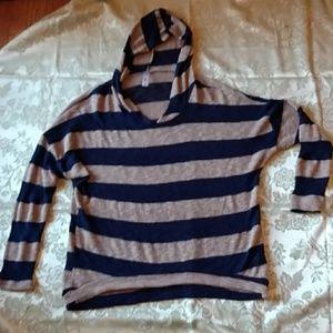 Bella D hooded striped stretch sweater